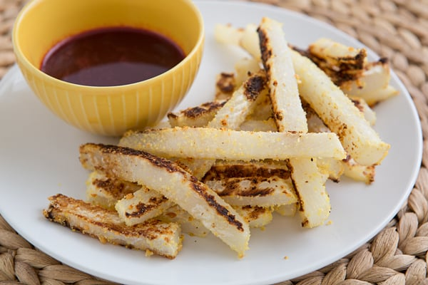 Garlicky Turnip Fries with Pomegranate Ketchup