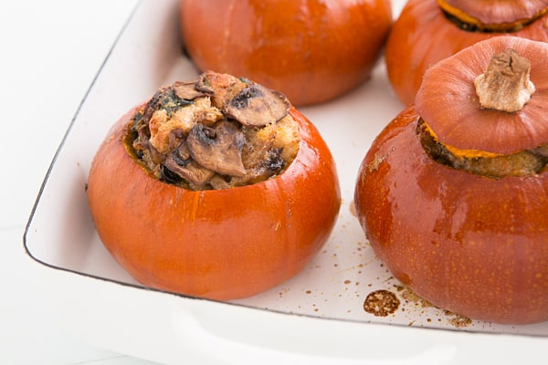 Baked Pumpkins with Spinach, Mushrooms & Cheese Recipe