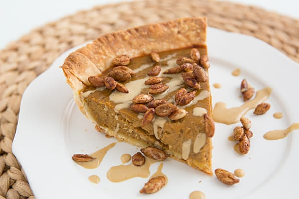 Pumpkin Pie with Salted Molasses Creme Fraiche and Maple Roasted Pumpkin Seeds