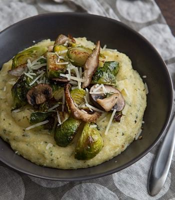 Sage Polenta Bowls with Brussels Sprouts and Wild Mushrooms Recipe