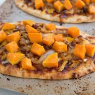 Sweet Potato & Caramelized Onion BBQ Naan Pizzas