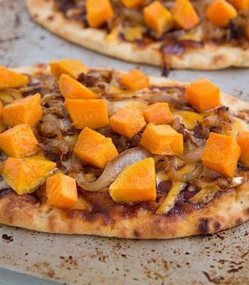 Sweet Potato & Caramelized Onion BBQ Naan Pizzas