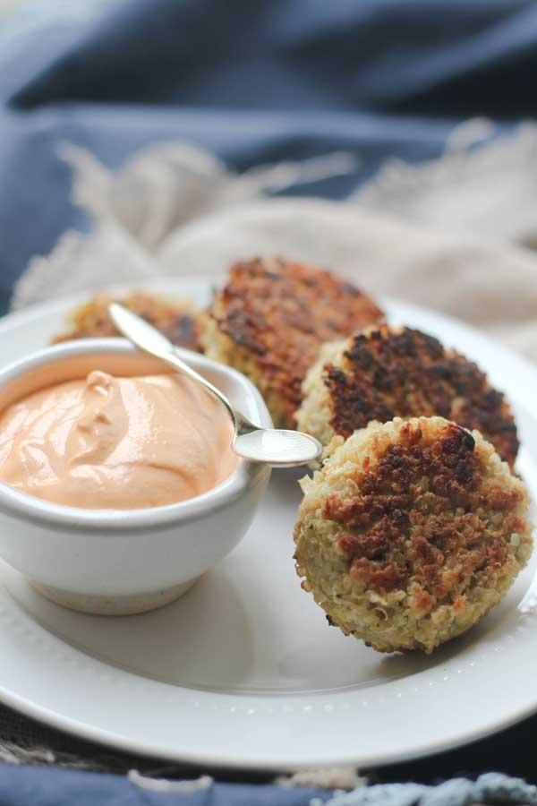 Crispy Quinoa Cakes with Roasted Red Pepper Cashew Cream