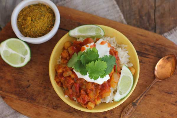 Chickpea Indian Bowl with Basmati Rice