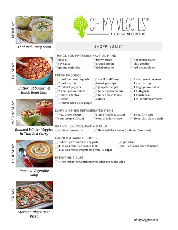 Vegetarian Meal Plan & Shopping List - 01.20.14