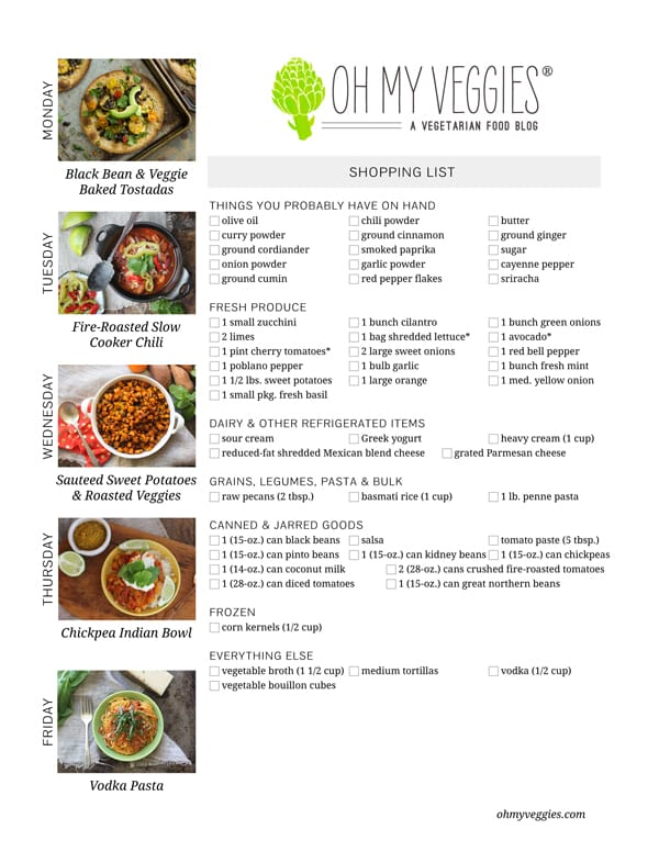 Vegetarian Meal Plan & Shopping List - 01.27.14