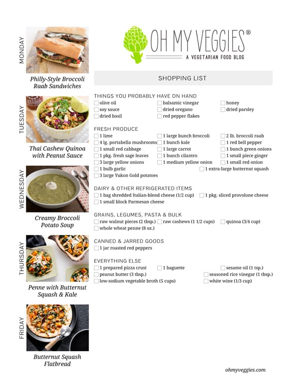 Vegetarian Meal Plan & Shopping List - 02.03.14