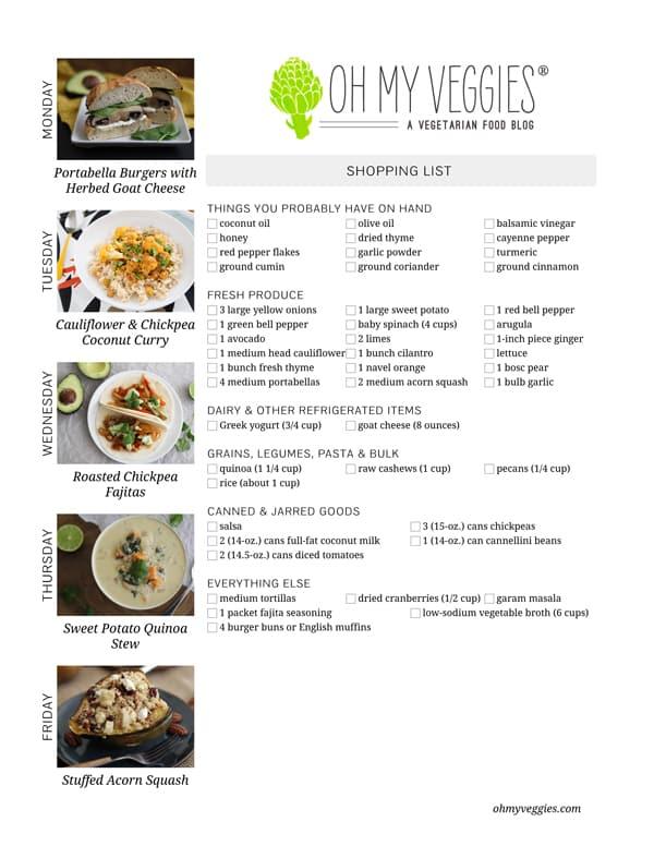 Vegetarian Meal Plan & Shopping List - 02.10.14