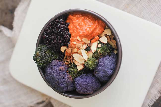 Black Rice, Romesco, and Roasted Veggie Bow
