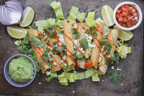 Black Bean Flautas with Avocado Dipping Sauce