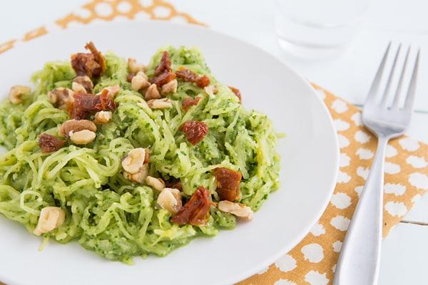 32 Creative Spaghetti Squash Recipes: Spaghetti Squash with Garlicky Kale Pesto and Sun-Dried Tomatoes