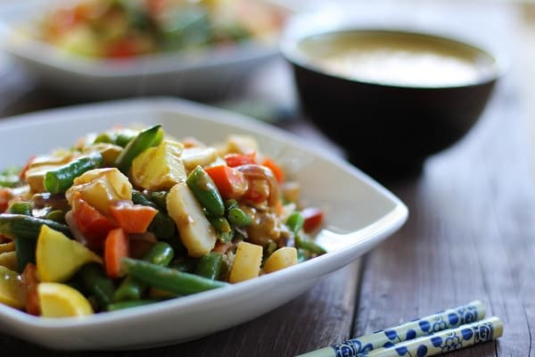 Vegetable Stir Fry with Thai Peanut Sauce