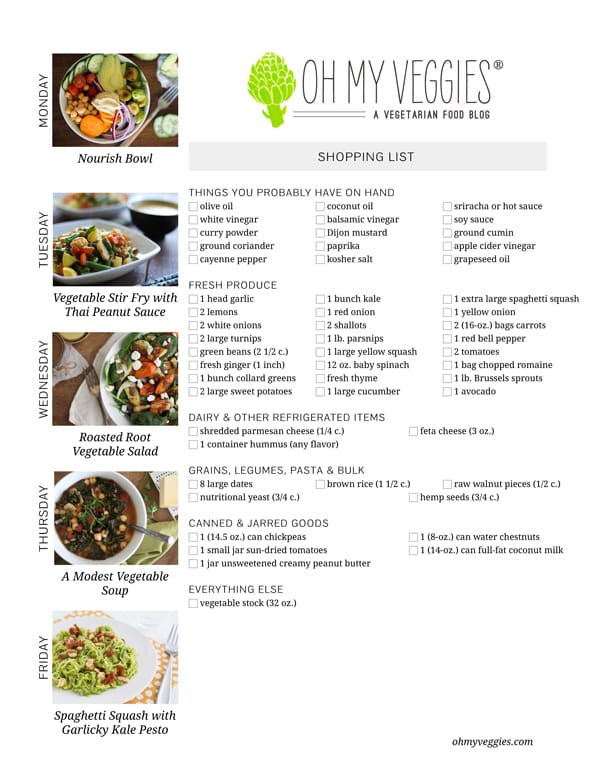 Vegetarian Meal Plan & Shopping List - 03.17.14