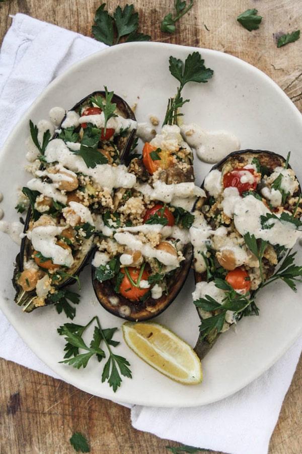 Chickpea-Stuffed Eggplant with Couscous & Tahini Sauce