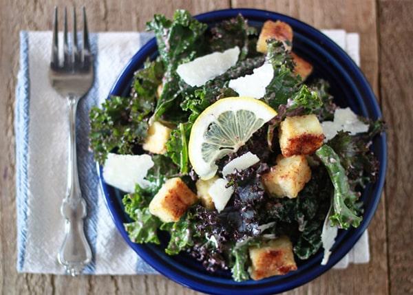 Kale Caesar Salad with Tofu Croutons