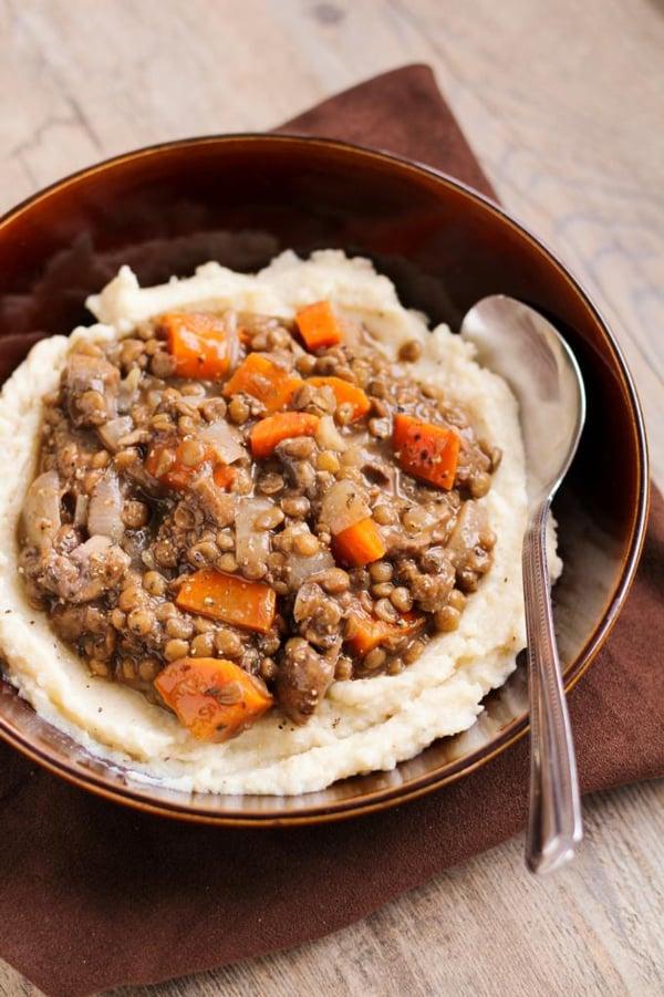 Lentil & Vegetable Stew with Cauliflower White Bean Puree