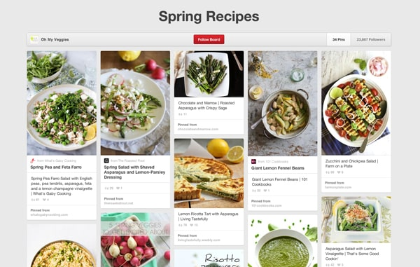 Spring Recipe Board on Pinterest