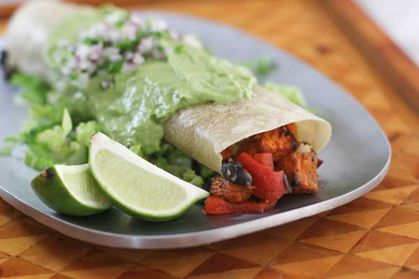 Sweet Potato Burrito Smothered in Avocado Salsa Verde by Cookie & Kate