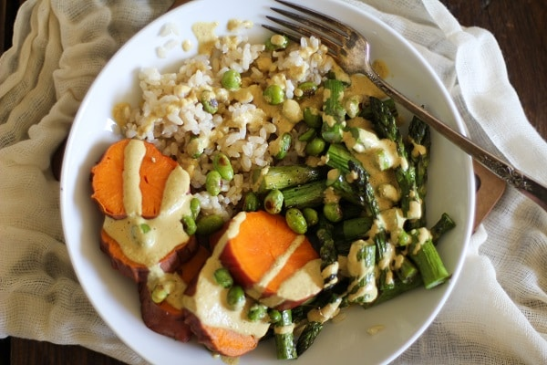 Balancing Buddha Bowls with Curry Pecan Dressing