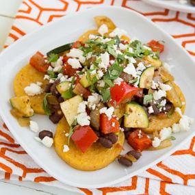 Mexican Baked Polenta with Salsa Beans & Sautéed Veggies Recipe