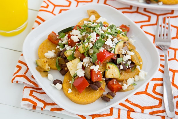 Mexican Baked Polenta with Salsa Beans & Sautéed Veggies Recipe