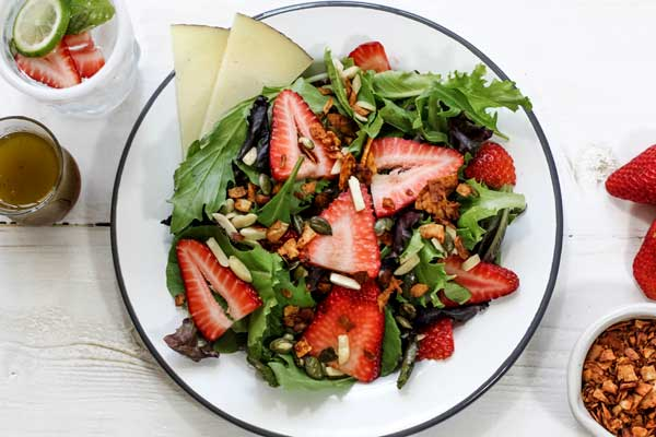 Strawberry Salad with Coconut Bacon