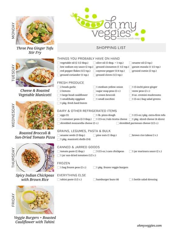 Vegetarian Meal Plan & Shopping List - 06.02.14