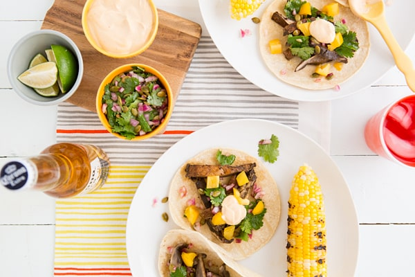 Beer-Marinated Grilled Mushroom Tacos with Pepita Relish & Chipotle Crema Recipe