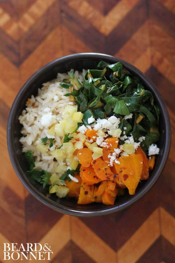 Spicy Harissa Greens & Roasted Carrot Rice Bowl