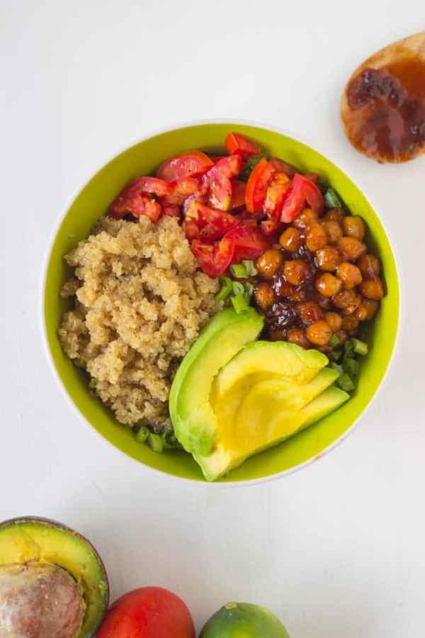 Honey Lime Quinoa Salad Bowl with BBQ Chickpeas