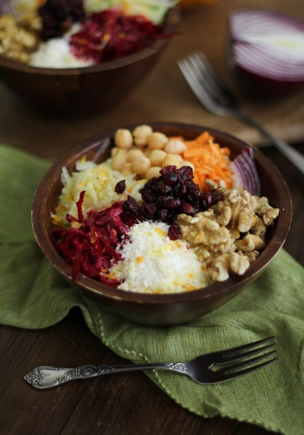Raw Root Vegetable Bowls with Zesty Orange Dressing