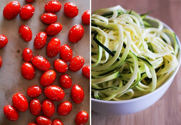 Roasted Tomatoes and Spiralized Zucchini