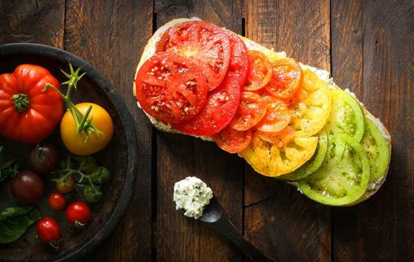 Tomato Rainbow Bruschetta with Basil Ricotta