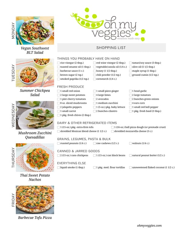 Vegetarian Meal Plan & Shopping List - 07.14.14