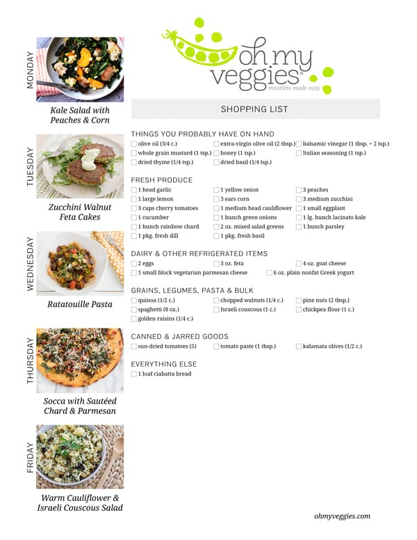 Vegetarian Meal Plan & Shopping List - 07.21.14