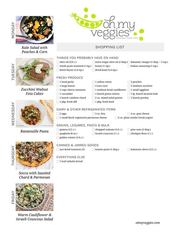 Vegetarian Meal Plan & Shopping List - 07.21.14