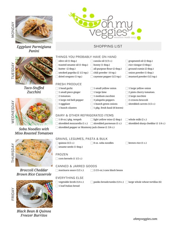 Vegetarian Meal Plan & Shopping List - 08.04.14