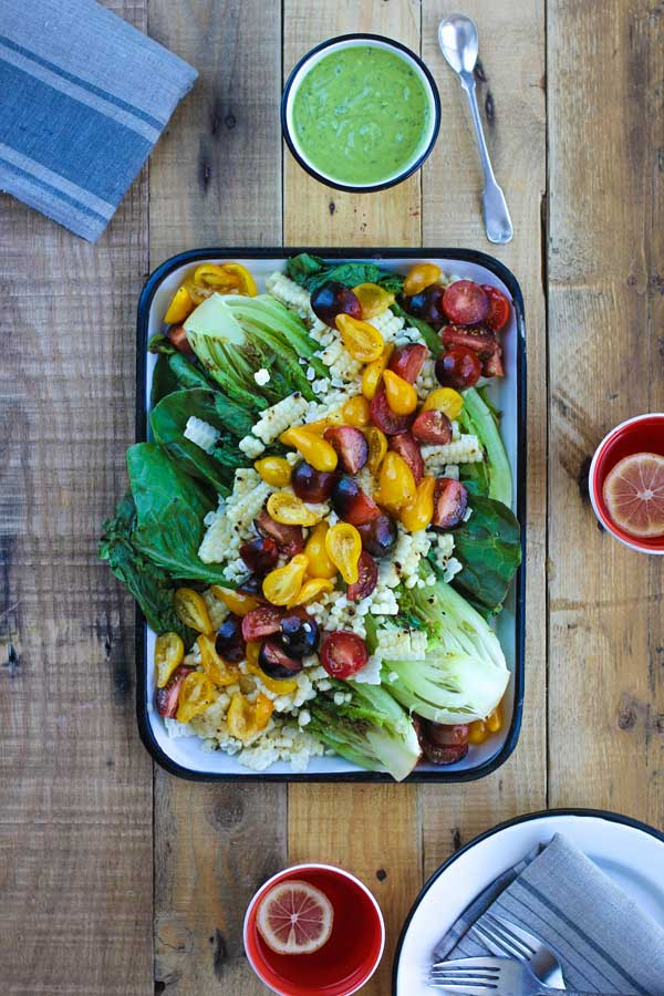 Grilled Romaine Salad with Creamy Avocado Basil Dressing