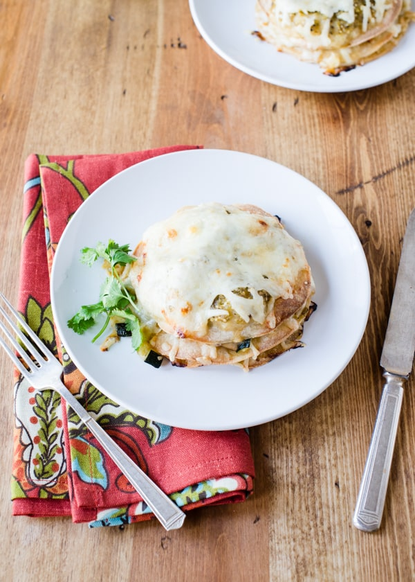 Veggie Enchilada Stacks with Roasted Tomatillo Sauce