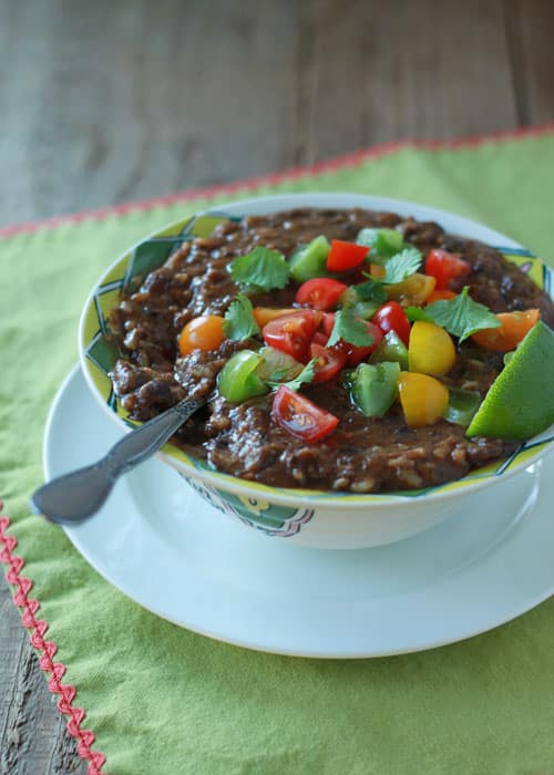 Crockpot Black Bean and Brown Rice Soup from Kitchen Treaty