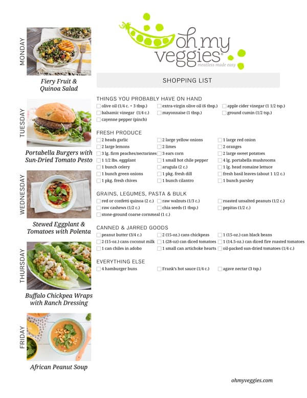 Vegetarian Meal Plan & Shopping List - 08.11.14