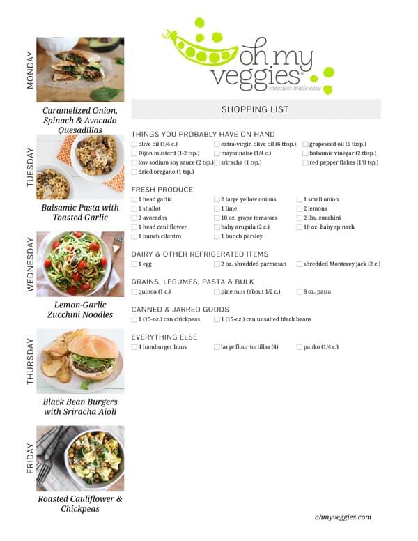 Vegetarian Meal Plan & Shopping List - 08.18.14