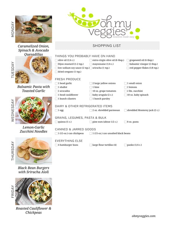 Vegetarian Meal Plan & Shopping List - 08.18.14
