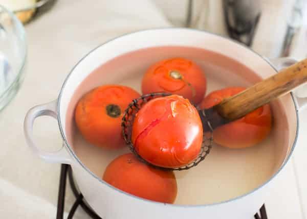 Freezer Tomato Sauce - peeling tomatoes-2