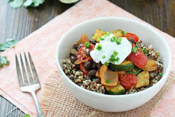 Quinoa & Roasted Vegetable Burrito Bowls from Cookie Monster Cooking