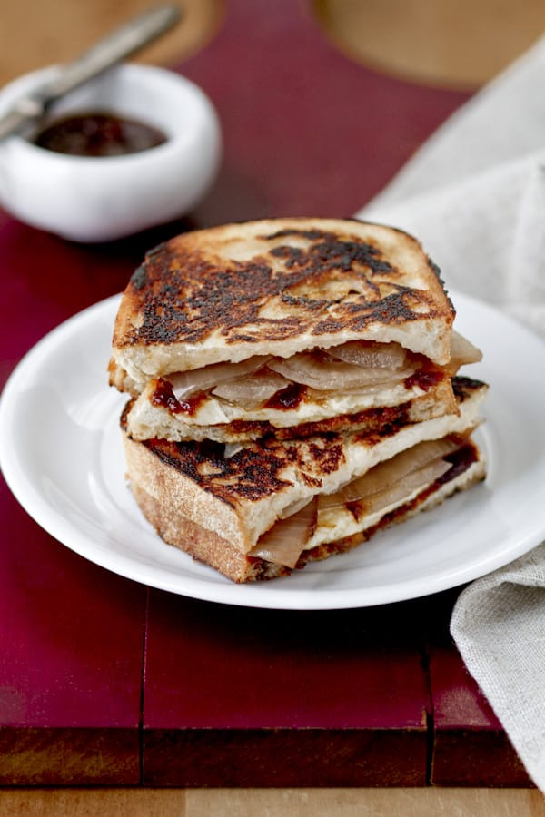 Grilled Cheese with Barbecue Sauce & Sweet Pickled Onions