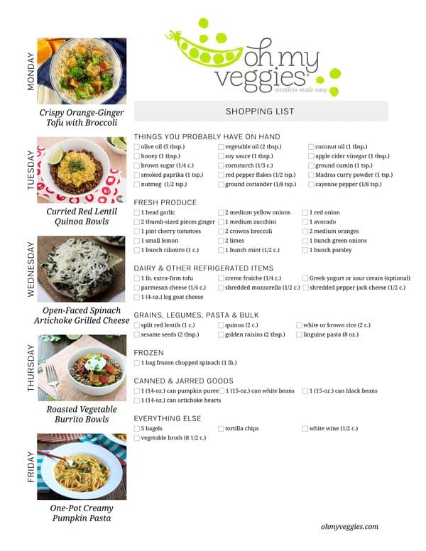 Vegetarian Meal Plan & Shopping List - 09.22.14