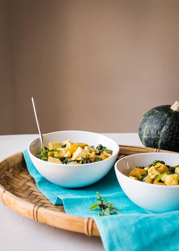 Thai Kabocha Squash Curry with Kale and Cauliflower