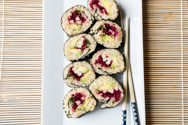 Easy Quinoa Sushi Rolls With Miso Sesame Dipping Sauce