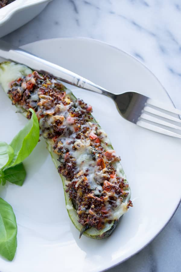 Vegetable & Quinoa Stuffed Zucchini